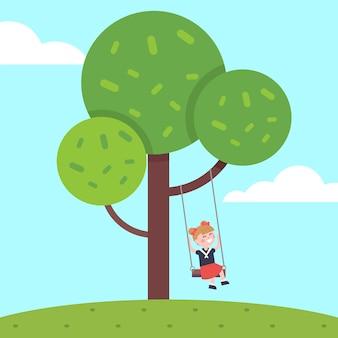 Девочка качается на качелях дерева