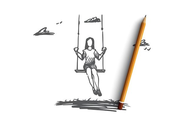 소녀, 스윙, 연주, 재미, 활동 개념. 손으로 그린 된 소녀 스윙과 휴식 야외 개념 스케치.