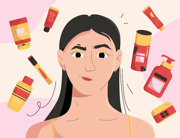 Girl takes care of her face skin and uses cosmetics