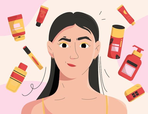 소녀는 그녀의 얼굴 피부를 돌보고 화장품을 사용합니다.