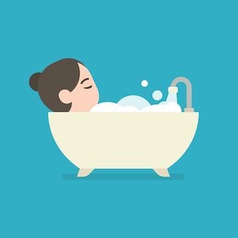 Girl taking a bath in a bathtub, cute character, vector illustration.