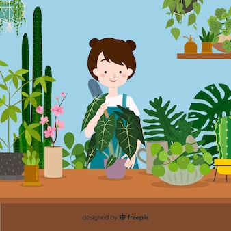 植物の世話をしている女の子