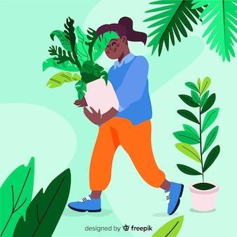 식물을 돌보는 소녀