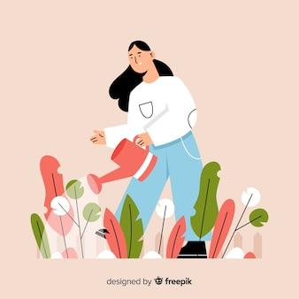 Девушка заботится о растениях