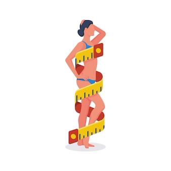 여자가 그녀의 시체의 측정
