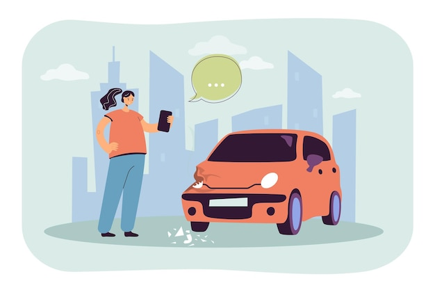 Ragazza che prende la foto dell'illustrazione piana dell'automobile danneggiata