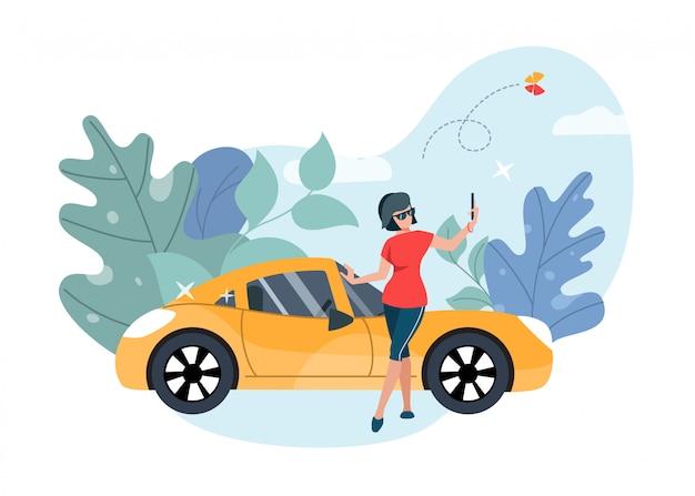 Девушка принимая селф перед роскошный автомобиль.