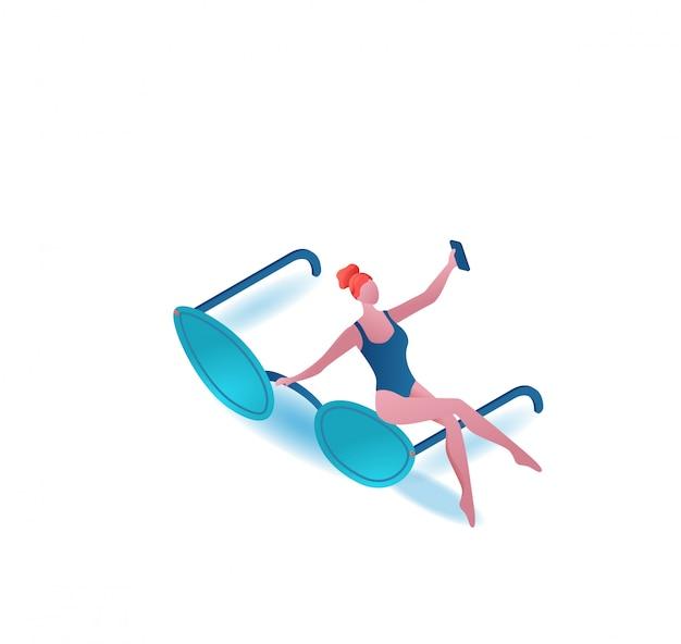 선글라스와 소녀 복용 selfie