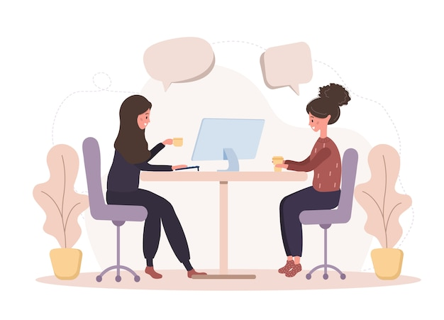 Girl talk to each other. business women discuss social network, chat with dialog speech bubbles, debate working moments. modern  illustration in  style.