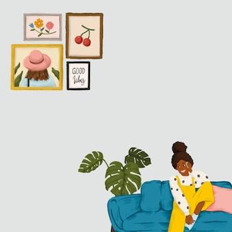 青いソファのスケッチスタイルのベクトルで電話で話している女の子