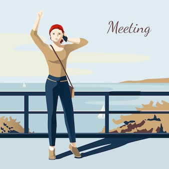 Girl talking on phone and meeting someone on bridge flat vector illustration