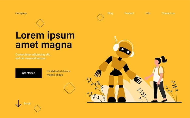 Girl talking to robot landing page in flat style