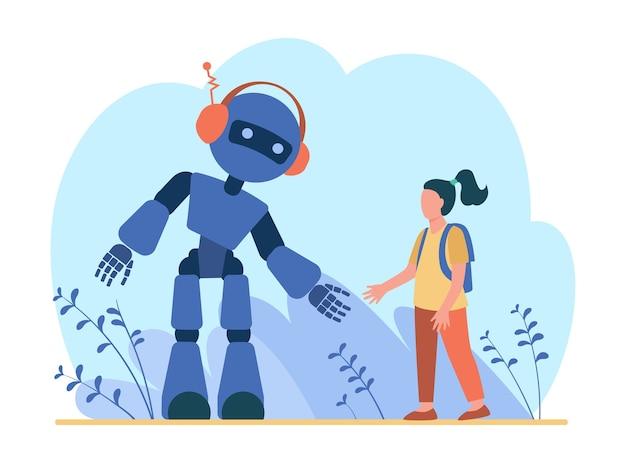 로봇에 얘기하는 소녀. 휴머노이드, 사이보그, 기계 평면 그림.