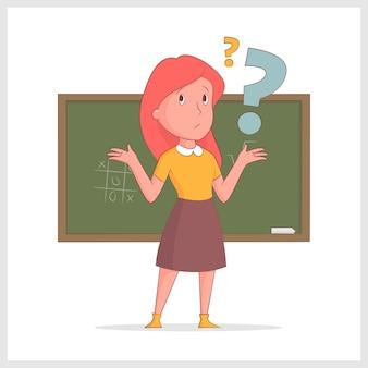 女の子の先生は、学校のボードの背景に悩まされました。ベクトル図