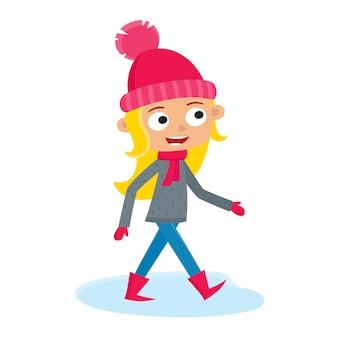 Girl teenage walking, cartoon illustration on white