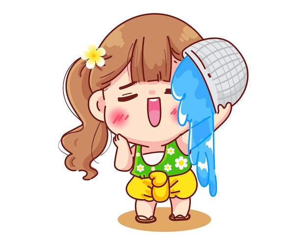 Girl in thai dresses splashing water songkran festival sign of thailand cartoon illustration cartoon illustration