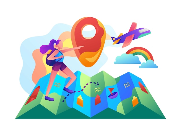 A girl that searching for the destination flat vector illustration