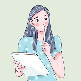 キャラクターイラストを考える女の子