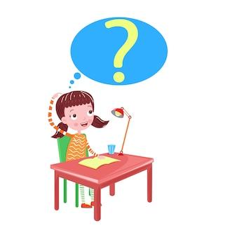 Girl thinking on the table an idea vector