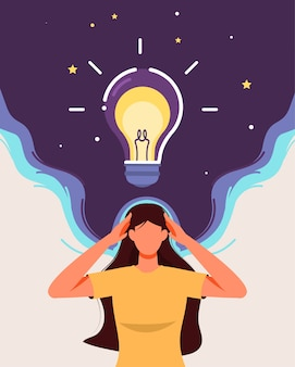 The girl thinking with bright light bulb concept