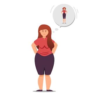 소녀는 체중 감량과 체중 감량에 대해 생각