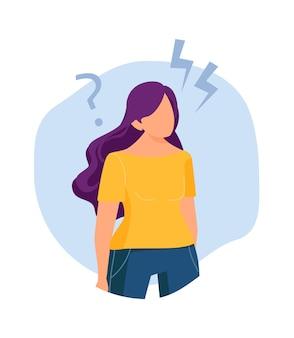 소녀는 생각했다. 솔루션 문제, 새로운 아이디어 찾기. 창의적인 사고 과정, 마음 연구 은유. 여자는 질문 벡터 삽화가 있습니다. 소녀 솔루션 및 결정, 질문 생각