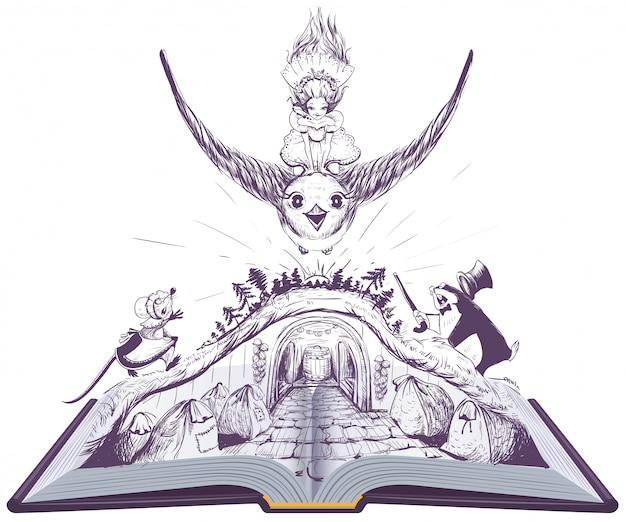 Girl thumbelina flies on swallow. open book fairy tale illustration