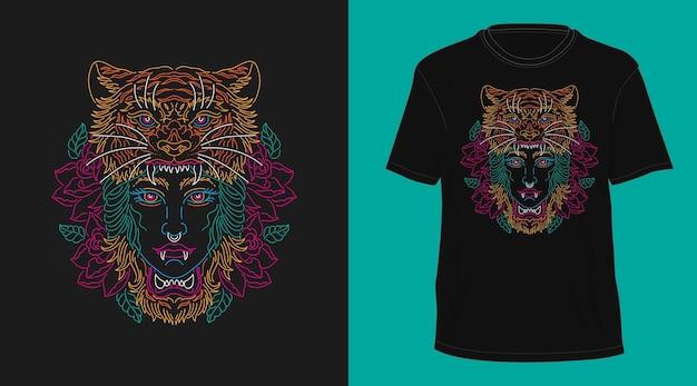 女の子タイガーヘッドヴィンテージモノライン手描きtシャツデザイン