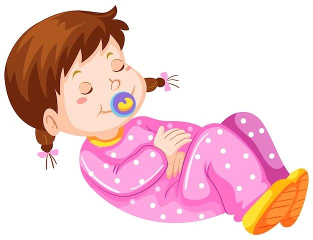 Девочка малыша с соской дремлет