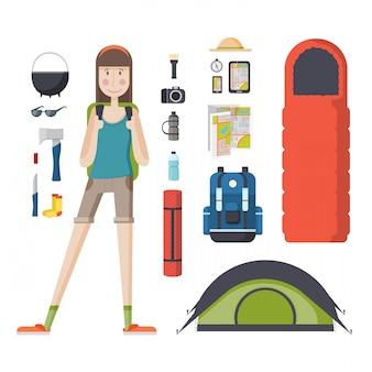 バックパックと観光物事のセットを持つ少女観光客。バックパック、寝袋、テントを持つ若い女性旅行者。
