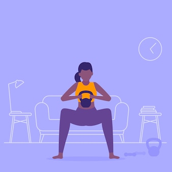 Girl training at home, doing squat, workout in living room