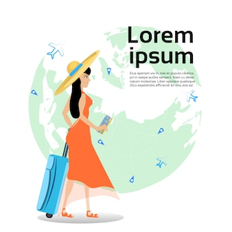 Girl traveler holding suitcase and ticket over world map. template