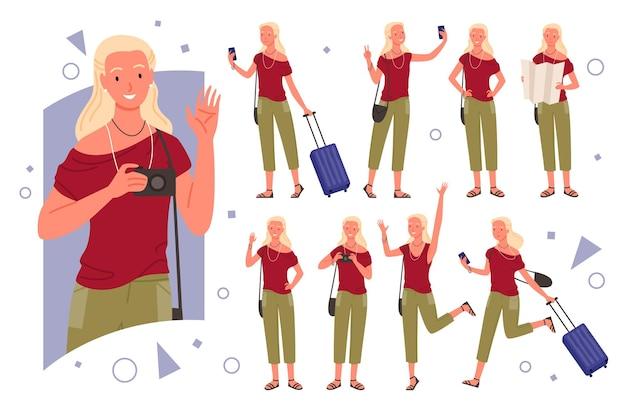 Набор иллюстраций позы путешественника девушки.