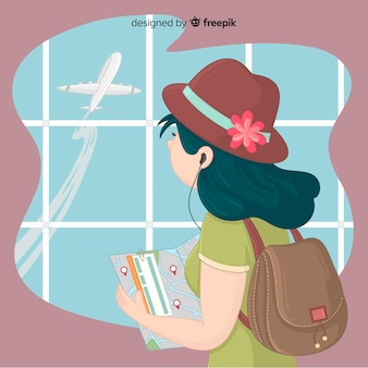 Girl traveling background