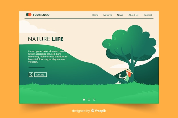 Girl under a tree landing page