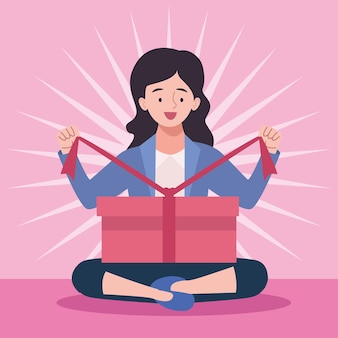 여자 언박싱 선물