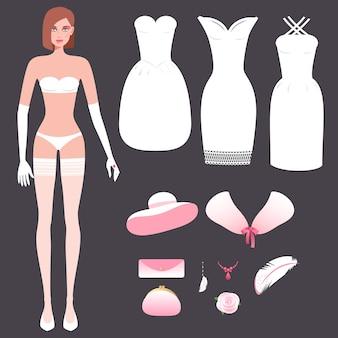 Girl in underwear and set wedding dresses.