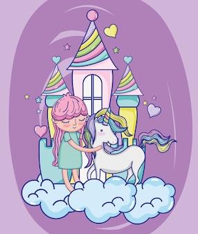 Girl and unicorn cute cartoons