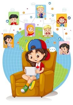 소녀는 친구와 채팅을 위해 태블릿을 사용