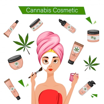 Girl using cannabic cosmetics. cartoon style.  illustration.