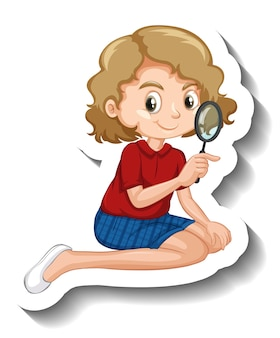 A girl using magnifying glass cartoon character sticker