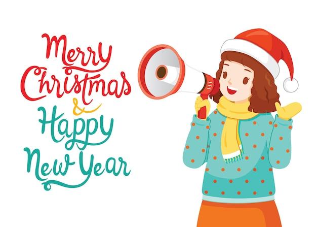 メリークリスマスと新年あけましておめでとうございますと言ってメガホンを使用している女の子