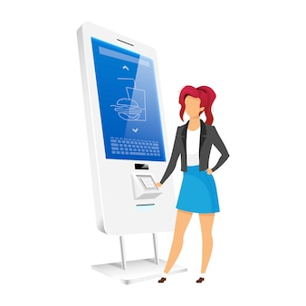 Девушка с помощью торгового киоска плоский цвет безликий персонаж. женщина, заказывающая еду в счетчике самообслуживания, изолировала иллюстрацию шаржа на белом фоне. интерактивная цифровая доска