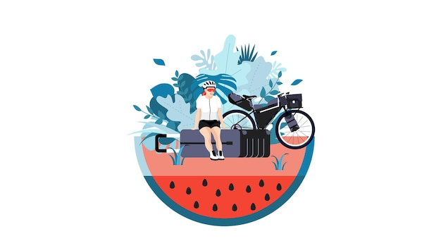 Girl on vacation sitting on suitcase conceptual illustration of travel and adventure bicycle touring