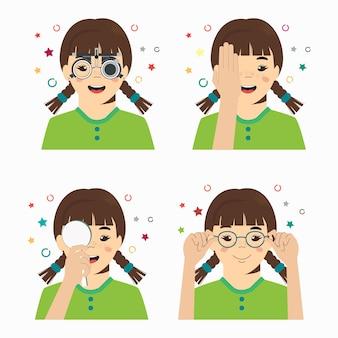 Проверка зрения девушки в офтальмологической клинике. оптометрист проверяет зрение ребенка в очках.