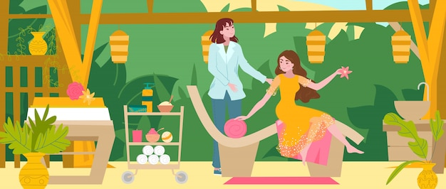 女の子はスパビューティーサロンを訪問、マスターはマッサージ、マニキュア、ペディキュア、女性漫画フラットイラストの理髪店のインテリアです。