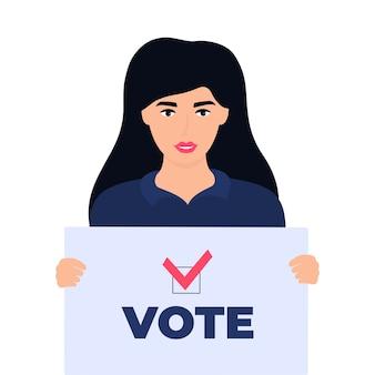 여자 유권자는 텍스트 투표와 포스터를 보유하고 있습니다.
