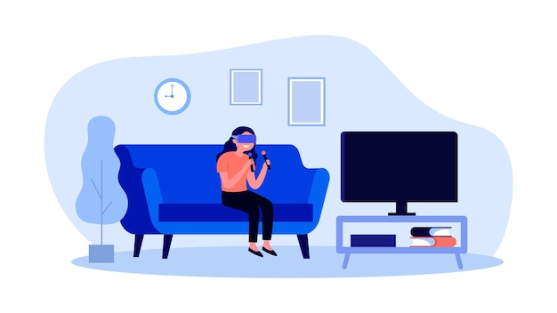 Girl in vr glasses playing game on tv
