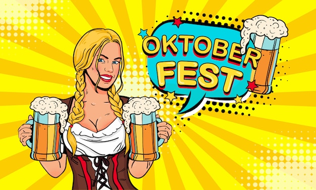 Girl waitress carries beer glasses and expression speech bubble with oktoberfest text