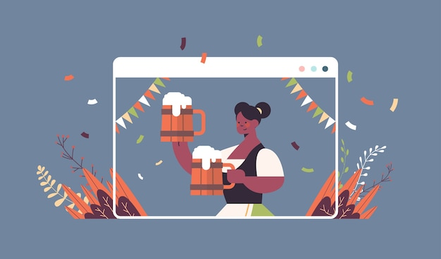 Girl waitress holding beer mugs oktoberfest party celebration concept african american woman in german traditional clothes having fun web browser window